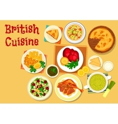 British cuisine fish and meat dishes icon vector