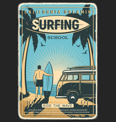 California surfing school retro poster vector