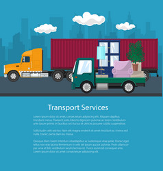 Cargo truck and lorry with furniture flyer vector