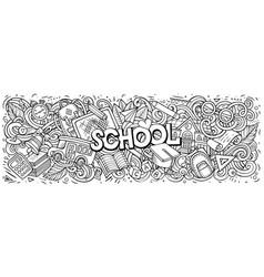 cartoon cute doodles school word colorful vector image
