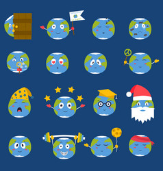 cartoon globe emotion icons smile happy nature vector image