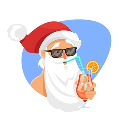 Cartoon style of Santa with cocktail vector