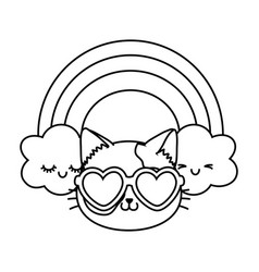 Cat with heart sunglasses black and white vector