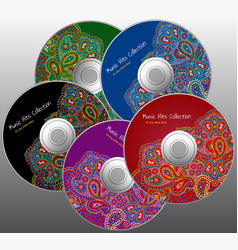 Cd color design set in paisley floral style vector