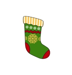 Christmas Colorful Sock Isolated on White vector image
