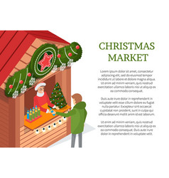 Christmas holiday person buying from street shop vector