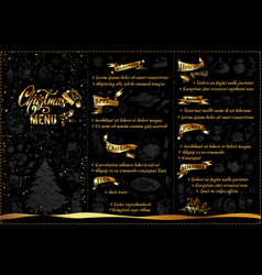 christmas menu design with doodle icons and text vector image