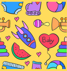 collection of baby element doodle set vector image