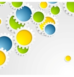 Colorful gears mechanism abstract tech background vector