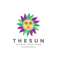 colorful modern traditional ethnic sun face logo vector image