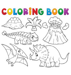 coloring book dinosaur subject image 5 vector image
