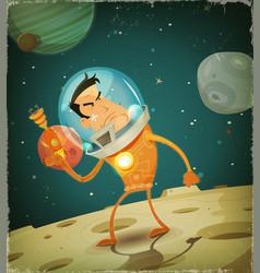 Comic astronaut hero vector