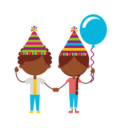 cute black kids with balloons air party characters vector image