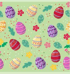 Cute easter eggs seamless pattern vector