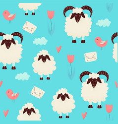 Cute sheep jumping over the fence vector