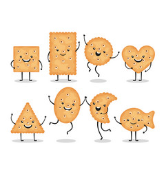 cute smiling cracker chips different shapes vector image