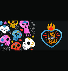 Day dead banner colorful watercolor skull vector