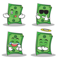 Dollar character cartoon style of set vector