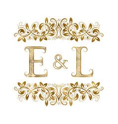 E and l vintage initials logo symbol vector
