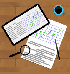 Economic graphic on desk vector