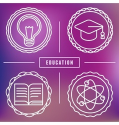 education icons and logos in outline style vector image vector image
