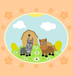 farm background with funny horse and donkey vector image