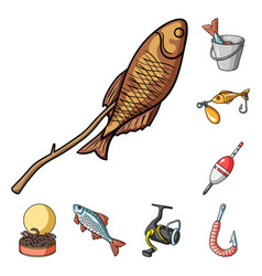 fishing and rest cartoon icons in set collection vector image