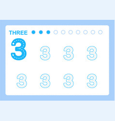 Free handwriting pages for writing numbers vector
