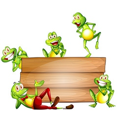 Frogs and sign vector image