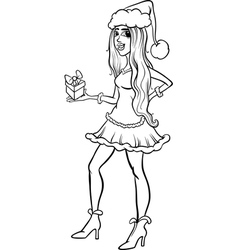 girl santa claus coloring page royalty free vector image