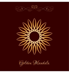 Gold color sun mandala over dark brown vector