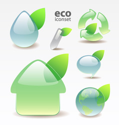 green glossy eco icons vector image