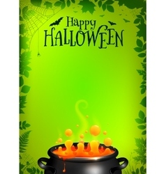 Green Halloween poster template with orange potion vector image