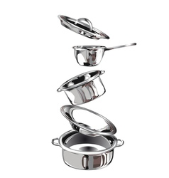 Group stainless steel kitchenware vector