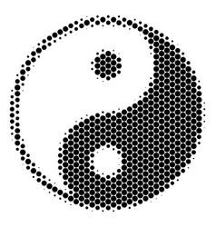 Halftone dot yin yang icon vector
