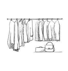 Hand drawn wardrobe sketch Clothes vector image