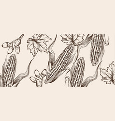 Happy thanksgiving card line art corn autumn vector