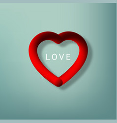 happy valentine day poster realistic 3d heart vector image