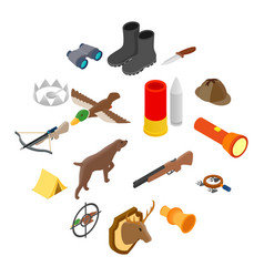 hunting isometric 3d icons vector image