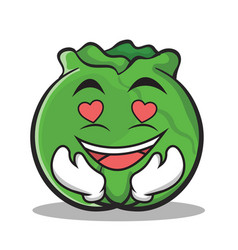 In love cabbage cartoon character style vector