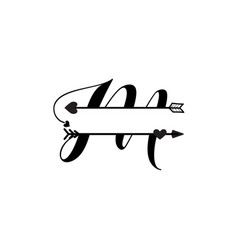 initial m love monogram split letter isolated vector image