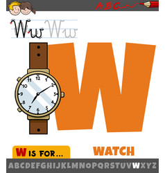 Letter w from alphabet with cartoon watch object vector