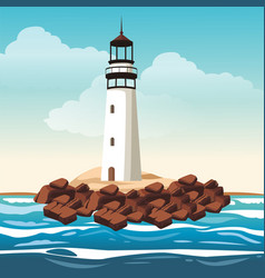 lighthouse and beautilful landscape vector image