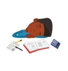 Male student sleeping at the desk with book vector