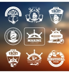 Marine nautical labels on blurred vector