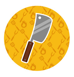meat cleaver on yellow background vector image
