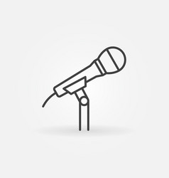 Microphone on the stand line icon or symbol vector