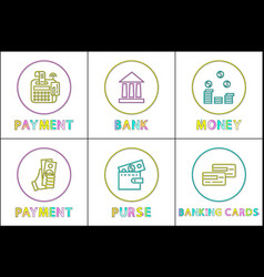monetary operations with cash and credit card icon vector image