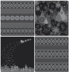Monochrome Winter Patterns vector image