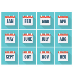 Month Dates Flat Icon Set with Long Shadow vector image